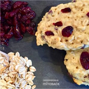 Eiweiß-kekse mit cranberries